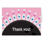 Bowling thank you note card, pink for girls