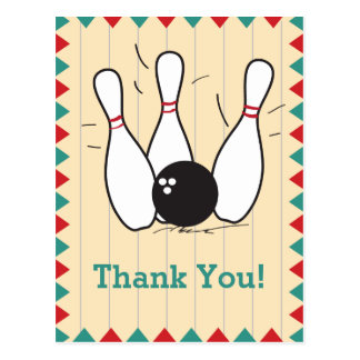 Bowling Thank You Postcard