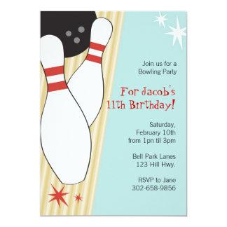 "Bowling Themed Birthday Party Invitations 5"" X 7"" Invitation Card"