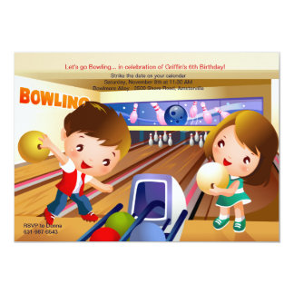 Bowling Tots Birthday Party Invitation