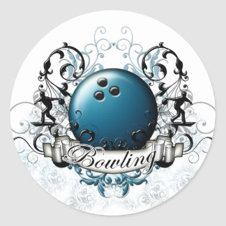 Bowling Tribal Classic Round Sticker