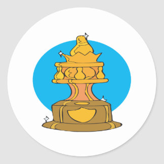 Bowling Trophy Classic Round Sticker