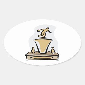 Bowling Trophy Oval Sticker