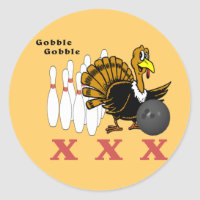 Bowling Turkey XXX Classic Round Sticker
