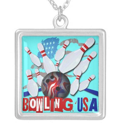 Bowling USA Square Pendant Necklace