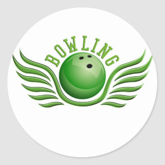 bowling wings classic round sticker