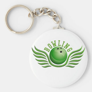 bowling wings basic round button keychain