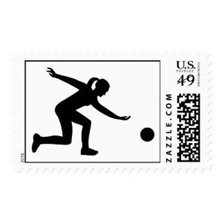 Bowling woman postage stamp