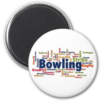 Bowling Word Cloud 2 Inch Round Magnet