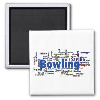 Bowling Word Cloud 2 Inch Square Magnet