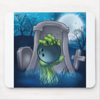 Bowling Zombie Halloween Graveyard Concept Mouse Pad
