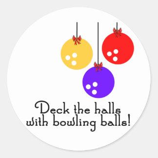 BowlingChick Deck the Halls Classic Round Sticker