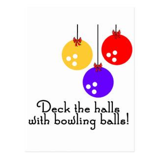 BowlingChick Deck the Halls Postcard