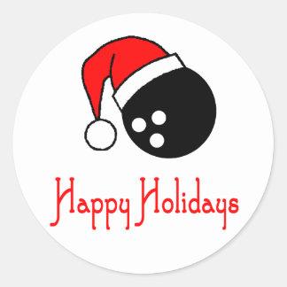 BowlingChick Happy Holidays Classic Round Sticker