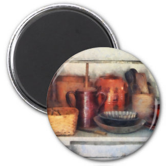 Bowls, Basket and Wooden Spoons 2 Inch Round Magnet