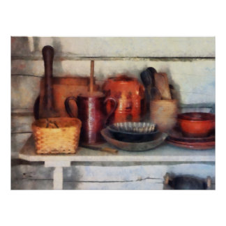 Bowls, Basket and Wooden Spoons Poster