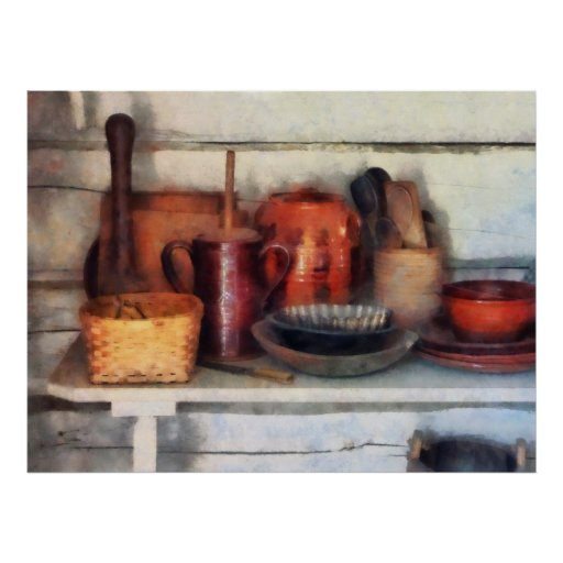 Bowls, Basket and Wooden Spoons Posters