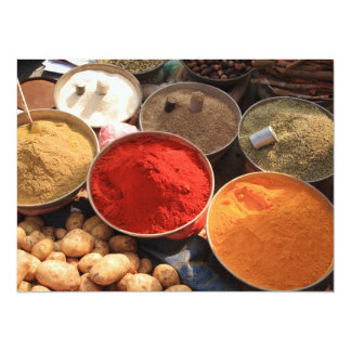 Bowls of cooking spices in Indian market Card