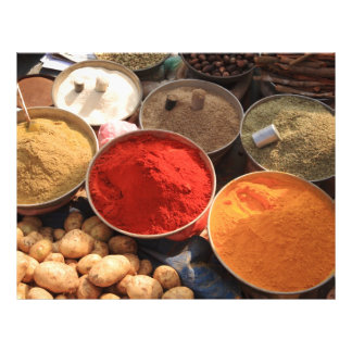 Bowls of cooking spices in Indian market Flyer