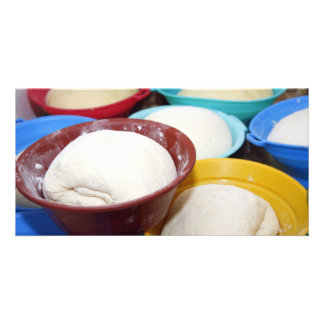 Bowls with bread dough card