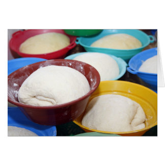 Bowls with bread dough greeting card