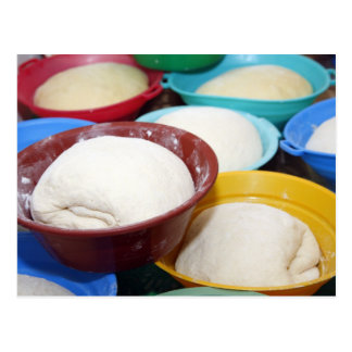 Bowls with bread dough postcard
