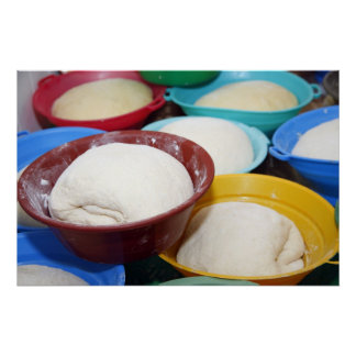 Bowls with bread dough poster
