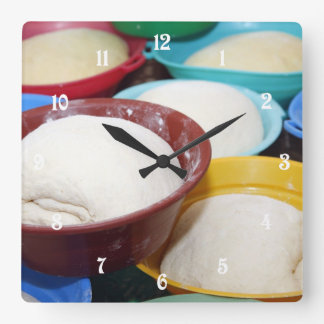 Bowls with bread dough square wallclock