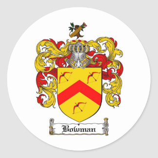 BOWMAN FAMILY CREST -  BOWMAN COAT OF ARMS CLASSIC ROUND STICKER