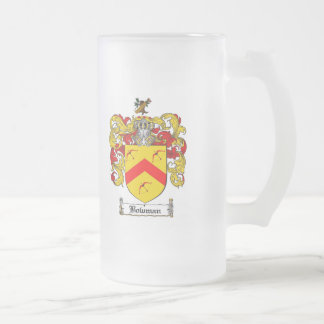 BOWMAN FAMILY CREST -  BOWMAN COAT OF ARMS FROSTED GLASS BEER MUG