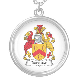Bowman Family Crest Round Pendant Necklace