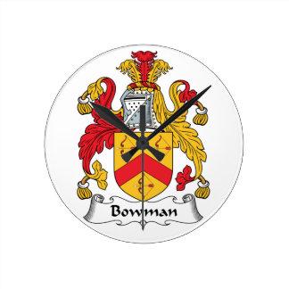 Bowman Family Crest Round Wallclock