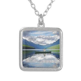 Bowman Lake - Glacier National Park Montana Silver Plated Necklace