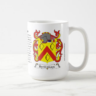 Bowman, the Origin, the Meaning and the Crest Coffee Mug