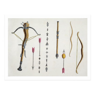 Bows and arrows from the 14th-15th century, plate postcard