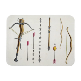 Bows and arrows from the 14th-15th century, plate rectangle magnet