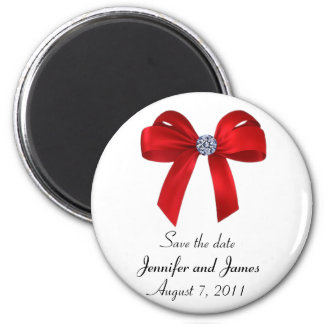 Bows and Diamonds Save the Date Magnet