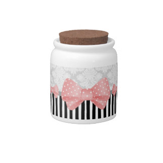 Bows, Brocade, and Stripes Candy Jar