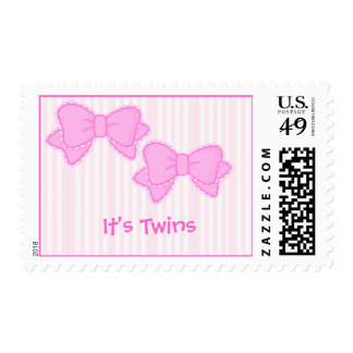 bows pink , It's Twins - Stamp