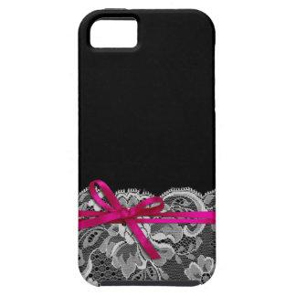 Bows Ribbon & Lace   black fuschia iPhone 5 Case