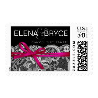 Bows Ribbon & Lace | black white fuschia Postage