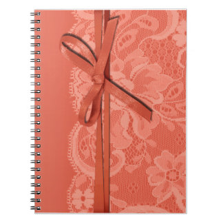 Bows Ribbon & Lace Bridal Planner peach Spiral Notebook