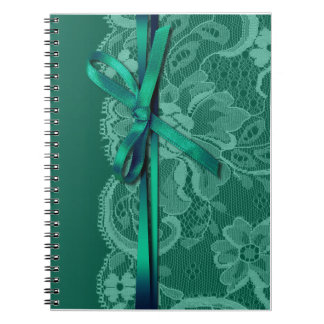 Bows Ribbon & Lace Bridal Planner teal Spiral Notebook