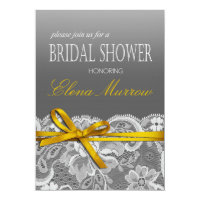 Bows Ribbon & Lace Bridal Shower gray yellow Invitation