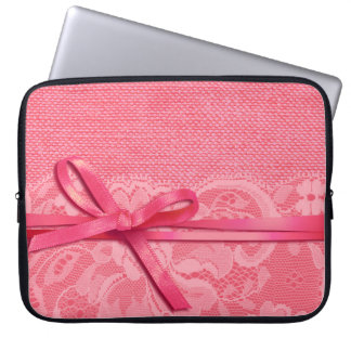 Bows Ribbon Lace Burlap | pink Computer Sleeve