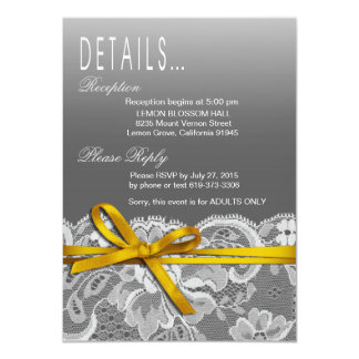Bows Ribbon & Lace Details | gray yellow 4.5x6.25 Paper Invitation Card