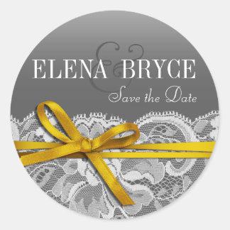 Bows Ribbon & Lace | gray yellow Round Sticker
