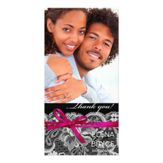 Bows Ribbon & Lace Photo black fuschia Card