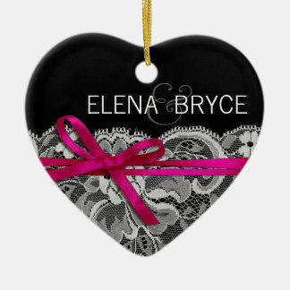 Bows Ribbon & Lace Photo | black fuschia Ceramic Ornament