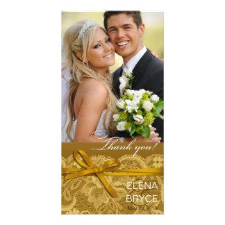 Bows Ribbon & Lace Photo gold Card